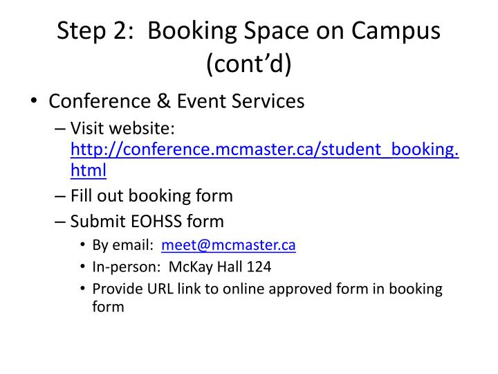 Step 2:  Booking Space on Campus (cont'd)