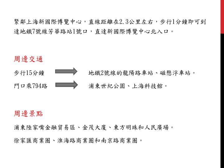 緊鄰上海新國際博覽中心,直線距離在
