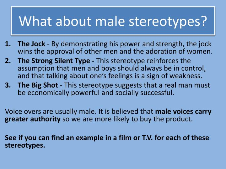 What about male stereotypes?