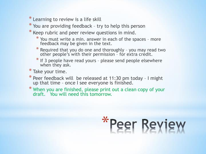 Learning to review is a life skill