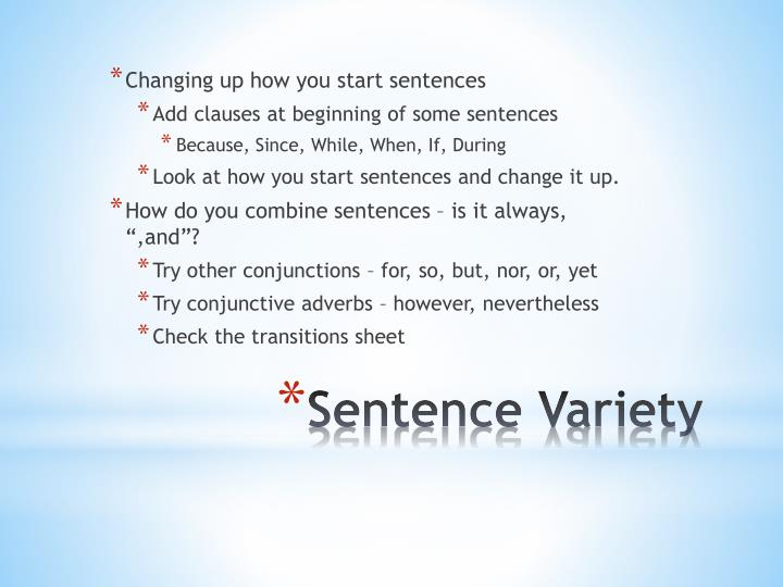 Changing up how you start sentences
