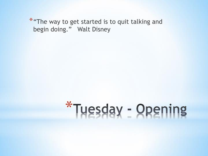 """The way to get started is to quit talking and begin doing.""   Walt Disney"