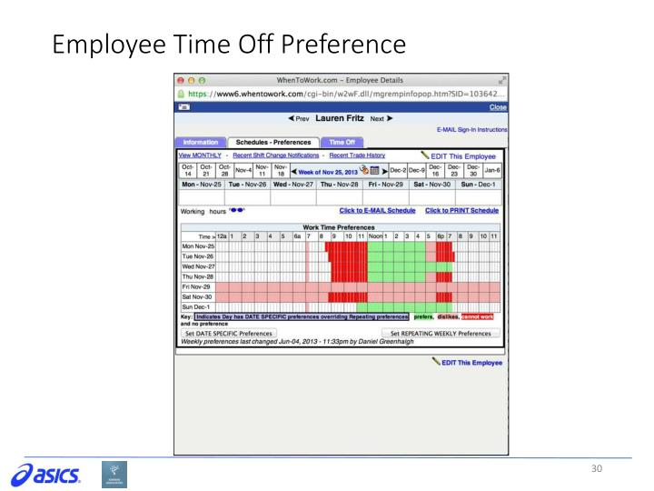 Employee Time Off Preference