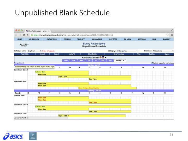 Unpublished Blank Schedule