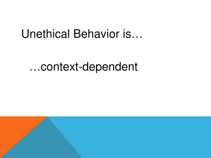 Unethical Behavior is…