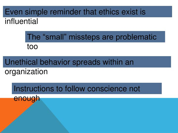 Even simple reminder that ethics exist is influential