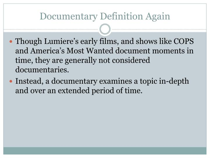 Documentary Definition Again
