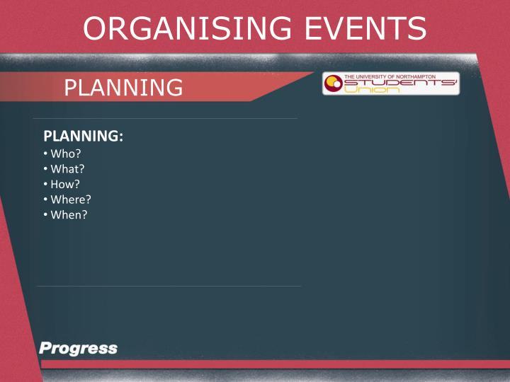 ORGANISING EVENTS