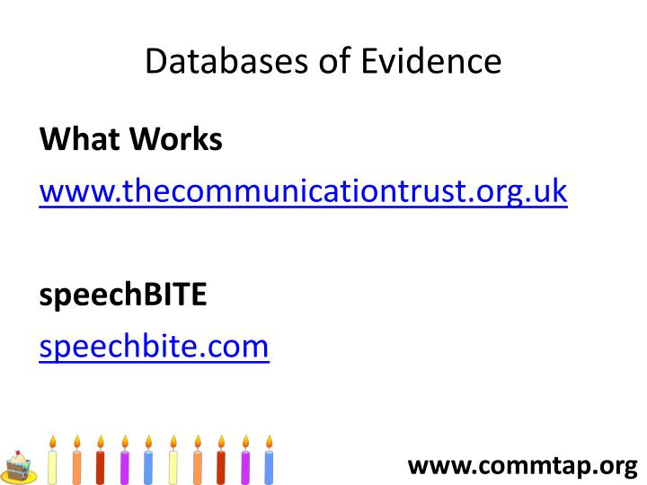 Databases of Evidence