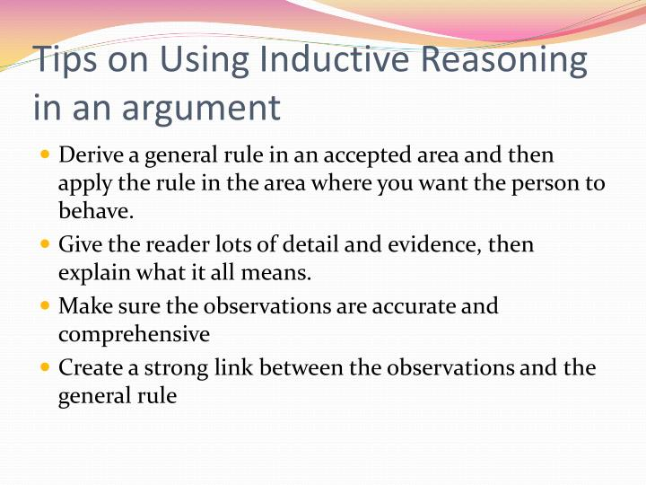 Tips on Using Inductive Reasoning in an argument