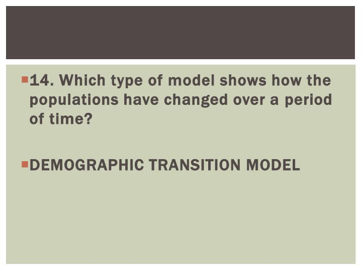 14. Which type of model shows how the populations have changed over a