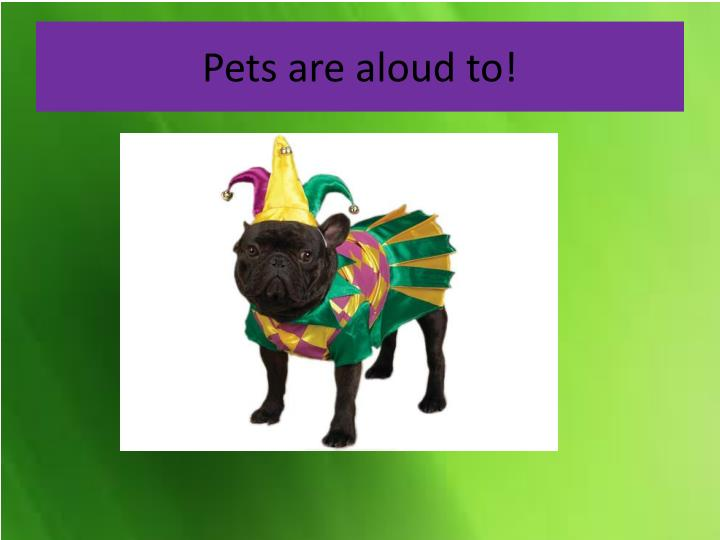 Pets are aloud to!