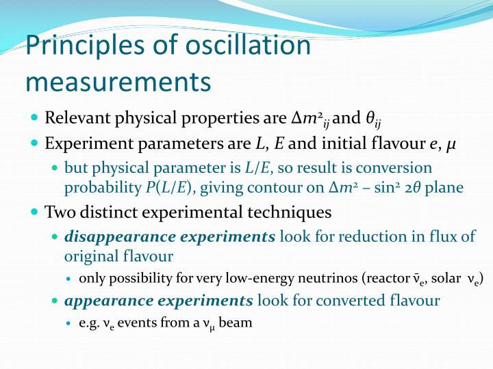 Principles of oscillation measurements