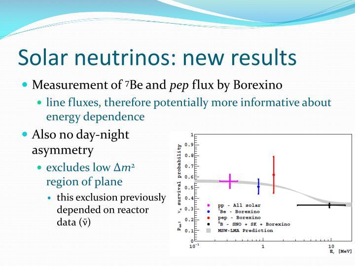 Solar neutrinos: new results