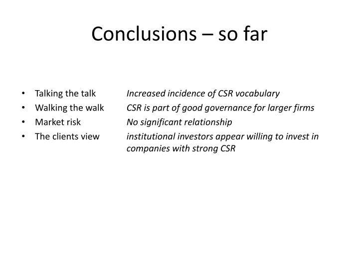 Conclusions – so far
