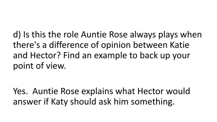 d) Is this the role Auntie Rose always plays when there's a difference of opinion between Katie and Hector? Find an example to back up your point of view.