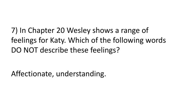 7) In Chapter 20 Wesley shows a range of feelings for Katy. Which of the following words DO NOT describe these feelings?