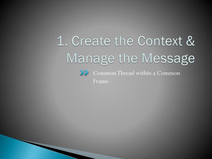 1. Create the Context & Manage the Message