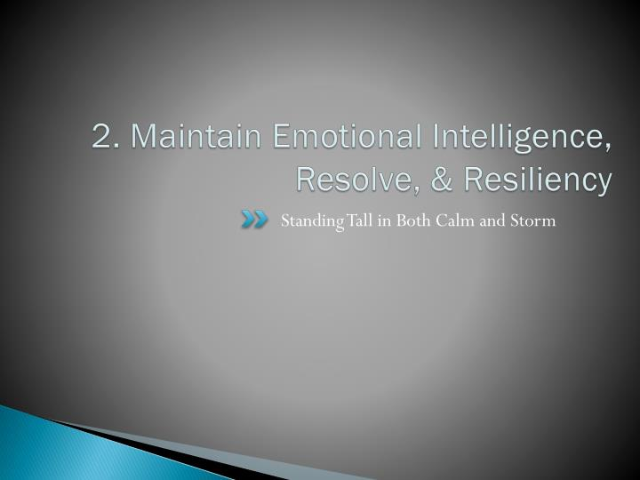2. Maintain Emotional Intelligence, Resolve, & Resiliency