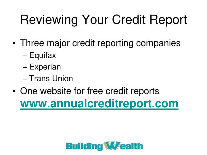 Reviewing Your Credit Report