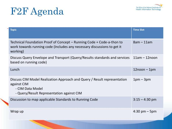 F2F Agenda