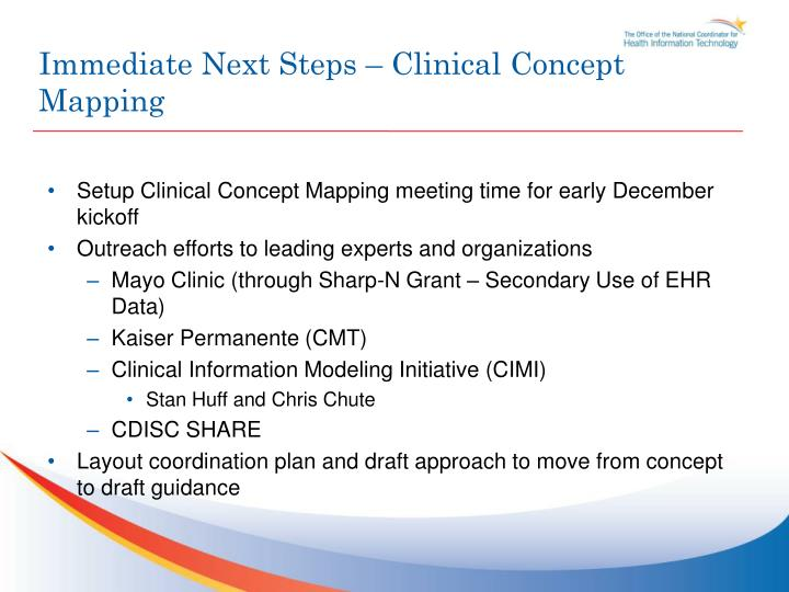 Immediate Next Steps – Clinical Concept Mapping