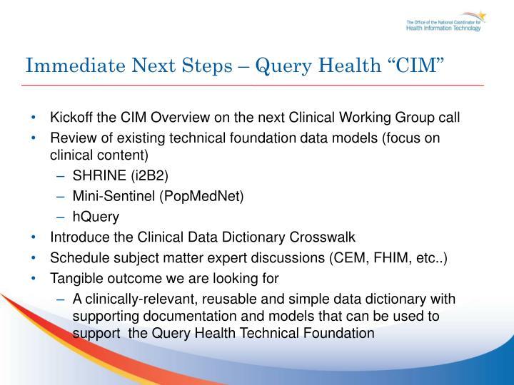 "Immediate Next Steps – Query Health ""CIM"""