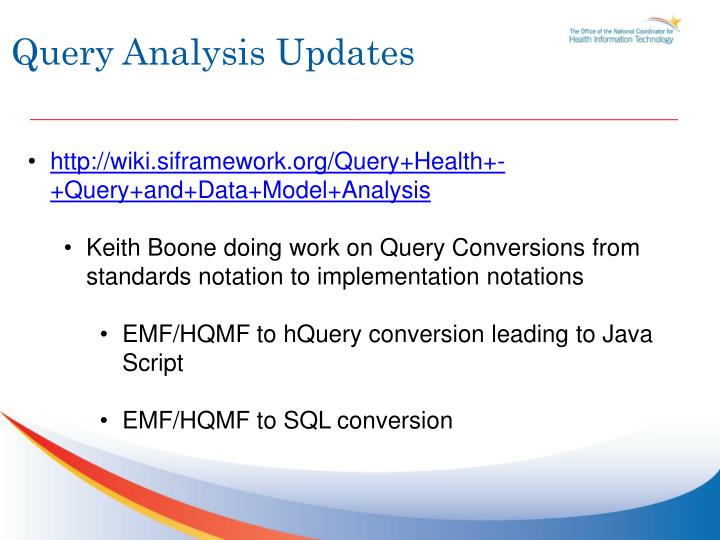 Query Analysis Updates