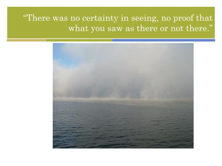 """There was no certainty in seeing, no proof that what you saw as there or not there."""