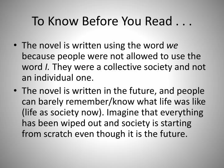 To Know Before You Read . . .