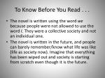 to know before you read