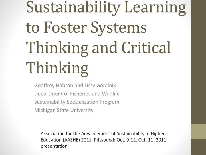 Assessment of Competency-based Sustainability Learning to Foster Systems Thinking and Critical Think...