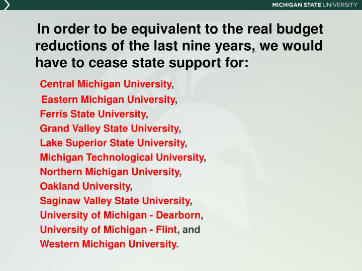 In order to be equivalent to the real budget reductions of the last nine years, we would have to cease state support for: