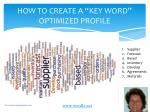 how to create a key word optimized profile