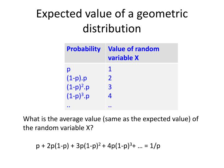 Expected value of a geometric distribution