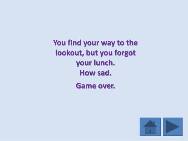 You find your way to the lookout, but you forgot your lunch.