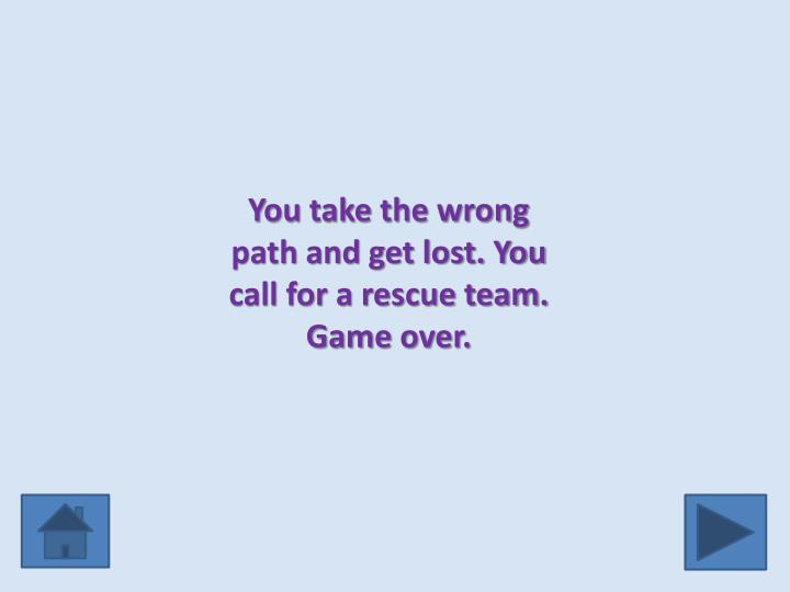 You take the wrong path and get lost. You call for a rescue team. Game over.