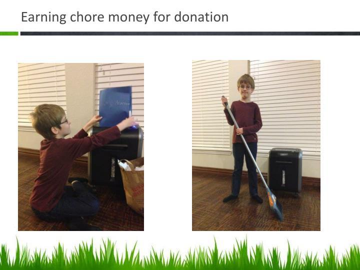 Earning chore money for donation