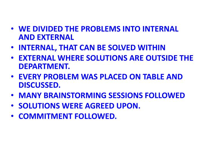 WE DIVIDED THE PROBLEMS INTO INTERNAL AND EXTERNAL