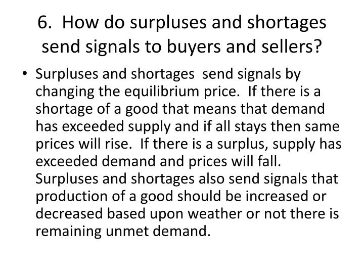 6.  How do surpluses and shortages send signals to buyers and sellers?