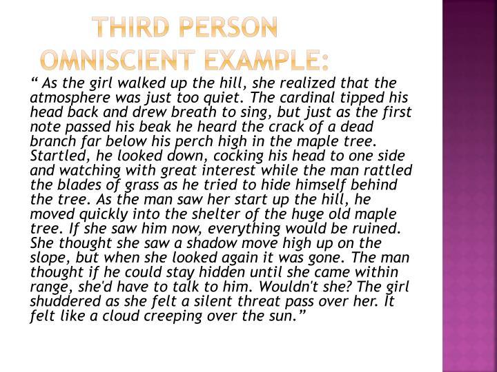 Third person omniscient Example: