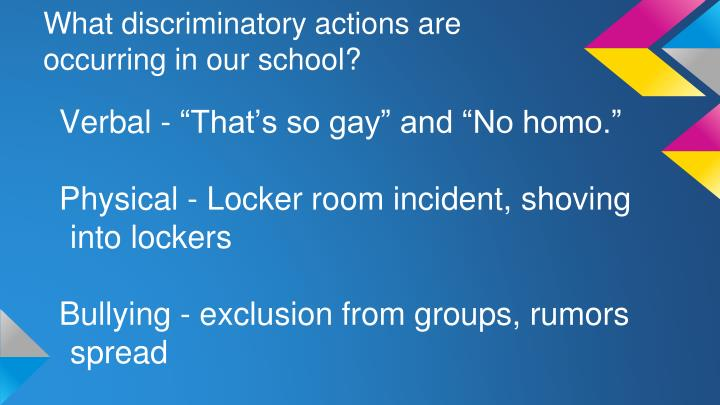 What discriminatory actions are occurring in our school?