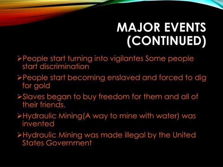 Major Events (continued)