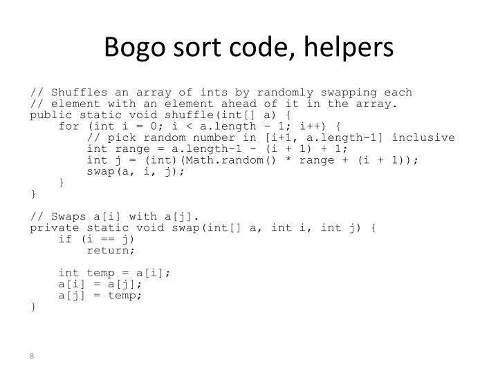 Bogo sort code, helpers