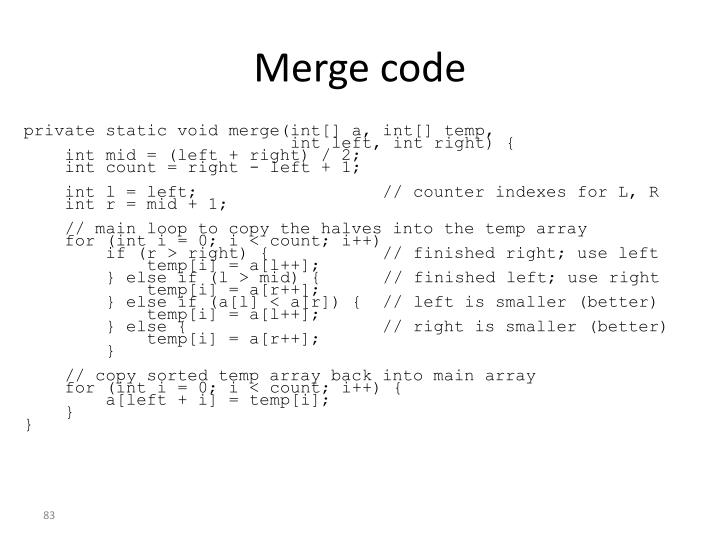 Merge code
