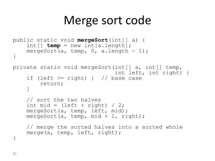 Merge sort code