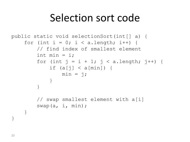 Selection sort code