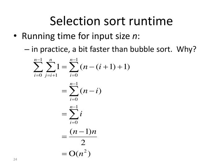 Selection sort runtime