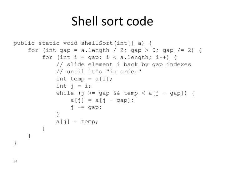 Shell sort code