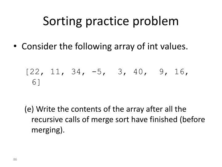 Sorting practice problem